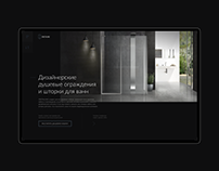 Landing page for a company that makes shower cabins