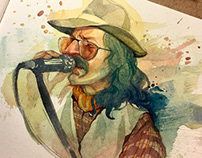 'Cem Karaca' watercolor