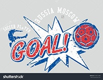 Russia soccer player Goal graphic design vector art