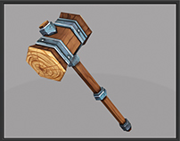 Wooden Warhammer 3D Low Poly