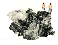 Where is Friedrich?, 2013 monotype and found images