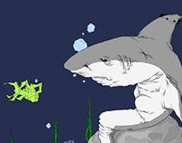 Sad Shark on the Rock