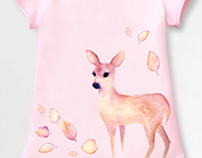 Watercolor Deer Girl Shirt