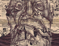'organised religion' bic biro drawing