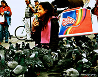 Young Colombian girls joyfully swims in pigeons.