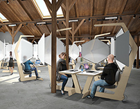 Coworking space interior with individual workstations