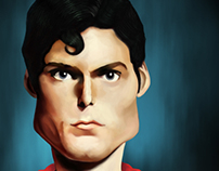 Caricature of christopher reeve (superman)