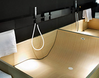 Agape Woodline Washbasins and Bathtub
