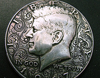 Hand Engraved coins by Shaun Hughes Nickels Tokens