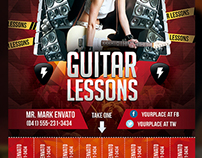 Guitar Lessons Flyer Template with Cutouts