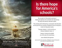"""""""Waiting for Superman"""" Discussion Panel Flyer"""