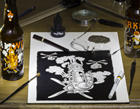 Scratchboard Drawings for Steamworks Beer Labels