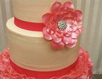 Ruffles and Ribbons Wedding Cake