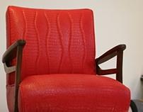 Reupholstered Swivel Rocker