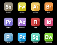 Adobe Apps: Flat design with long shadow effect