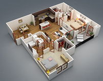 3d Floor plans on the basic of 2d blue print.