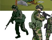 Kuvitusta Suomen puolustusvoimille