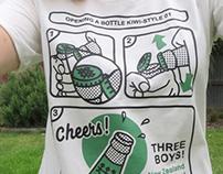 Opening a Bottle Kiwi Style T Shirt
