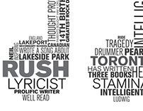 Typographic 3D word cloud on Neil Peart.