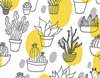 Cacti and succulent fabric design