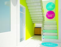 staircase design with motivation sticker