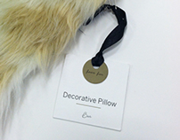 selected decorative pillow hang tags