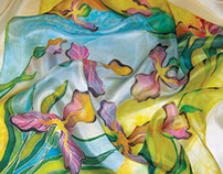 Hand painted iris flowers on silk