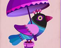 Funny Cartoon Birds under unbrella