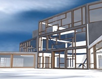 3D house model in Cinema 4D