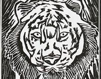 Tiger Linocut