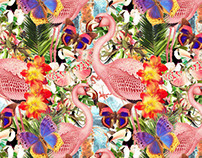 Estampa Tropical Flamingos