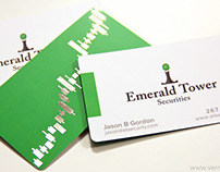 Emerald Tower Foil Stamped Silk Business Cards