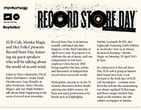 Press Release Record Store Day | SUB X MONKA MAGIC