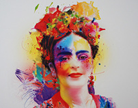 """Frida Kahlo""- mixed media ( 80 x 80 cm )"