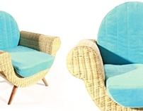 Shell Rattan Easy Chair