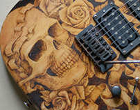 Pyrography relic guitar