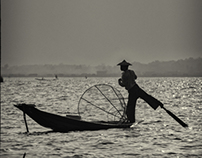 Inle Lake People B&W - Burma
