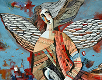 guardian angel paper, mixed media 26x30 2012