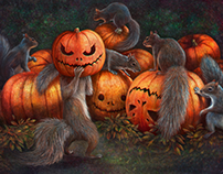 squirrels celebrate Halloween