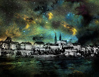 Starry night Basel, Switzerland