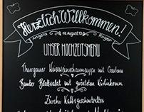 Hochzeitsmenue-Tafel