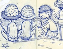 Summer beach moleskine sketches