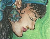 A Dark Girl - pastel drawing