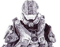 Master Chief Pen Drawing