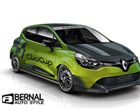 Renault Clio Cup Concept with wide body kit .