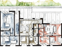 Real Estate Watercolor 3D Floor Plan II
