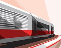 Futurist advertising poster // Ferrovie dello Stato
