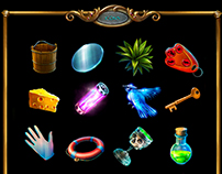 Game icons, items, hidden objects game.