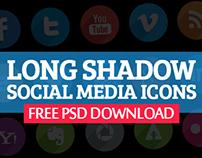 Long Shadow Social Media Icons Set (45 Icons)