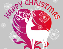 xmas deer and happy new year vector art